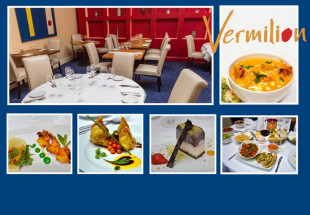 Two course meal with wine for two at Vermillion