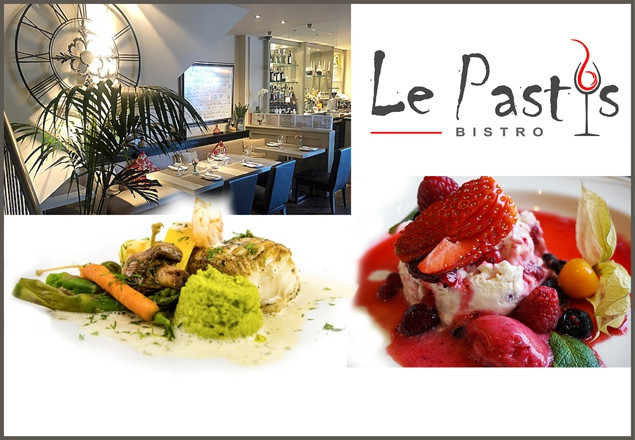 2-Course dinner for 2 with wine at Le Pastis