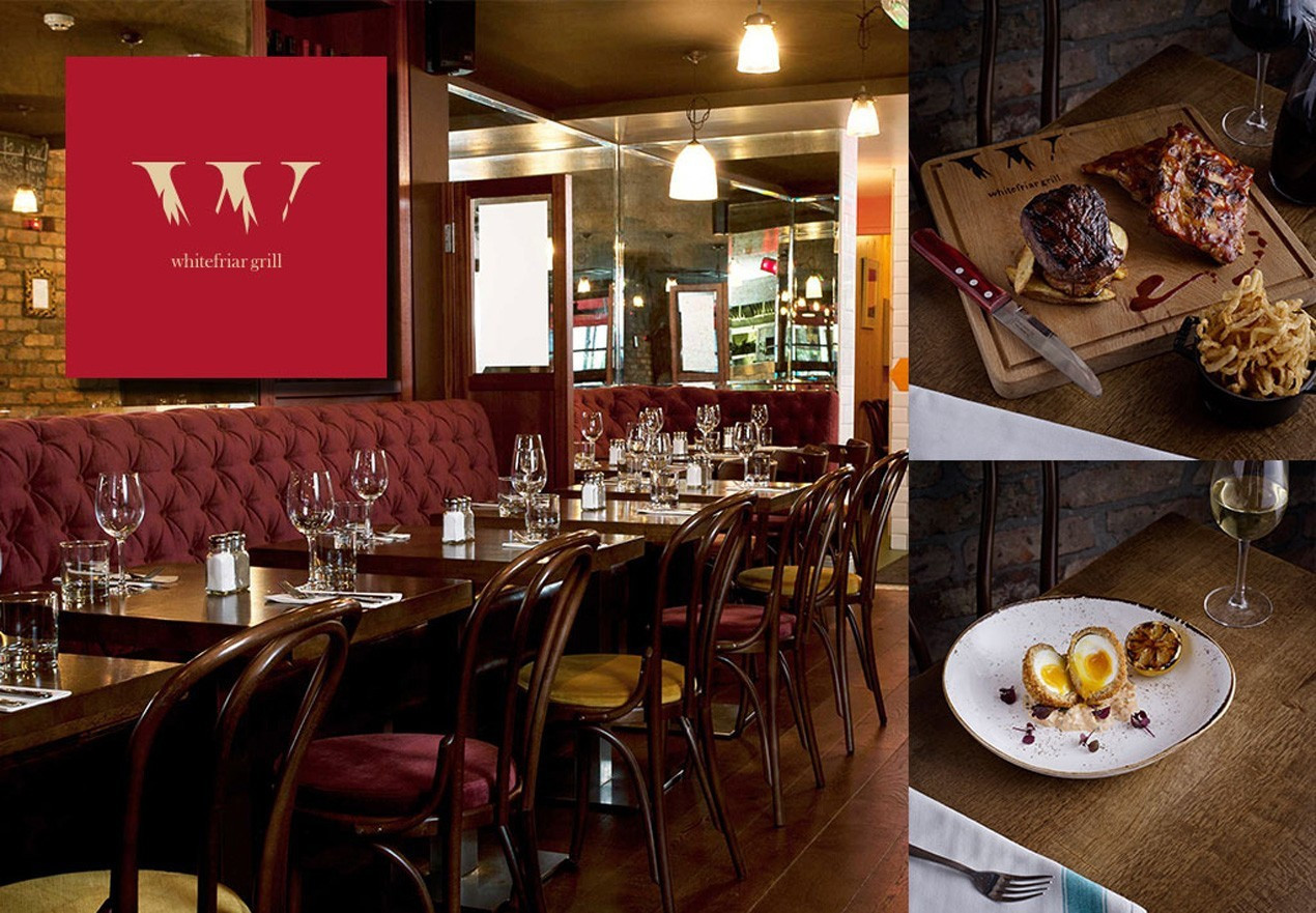 3 course dinner for 2 Whitefriar Grill Mar 2018